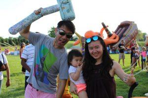 family posing goofy