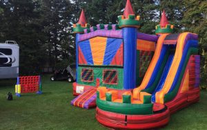 Rainbow Lava Bouncy Castle Rental
